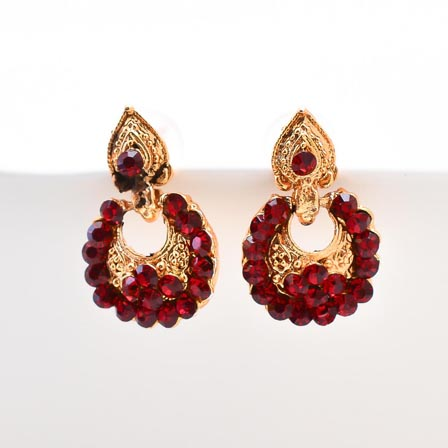 Red Stone Circular Design with Golden Polish Earring for Women