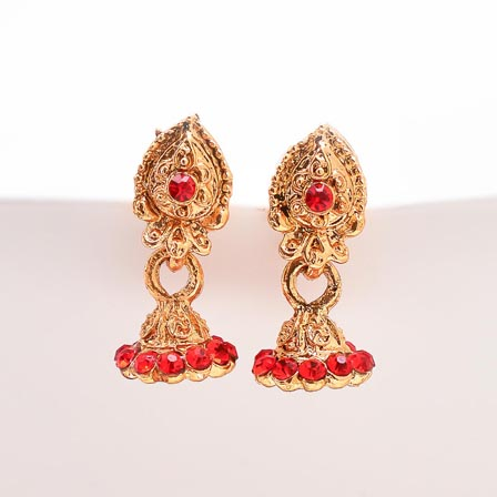 Red Stone with Golden Polish Jhumki for Women