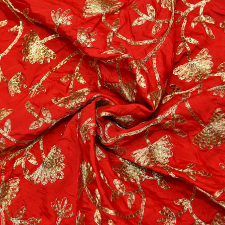 Red Taffeta Base Fabric With Golden Floral Embroidery-60072