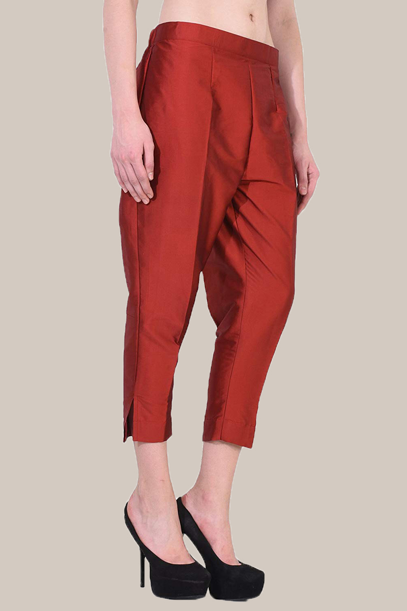 Red Taffeta Silk Ankle Length Pant-33962
