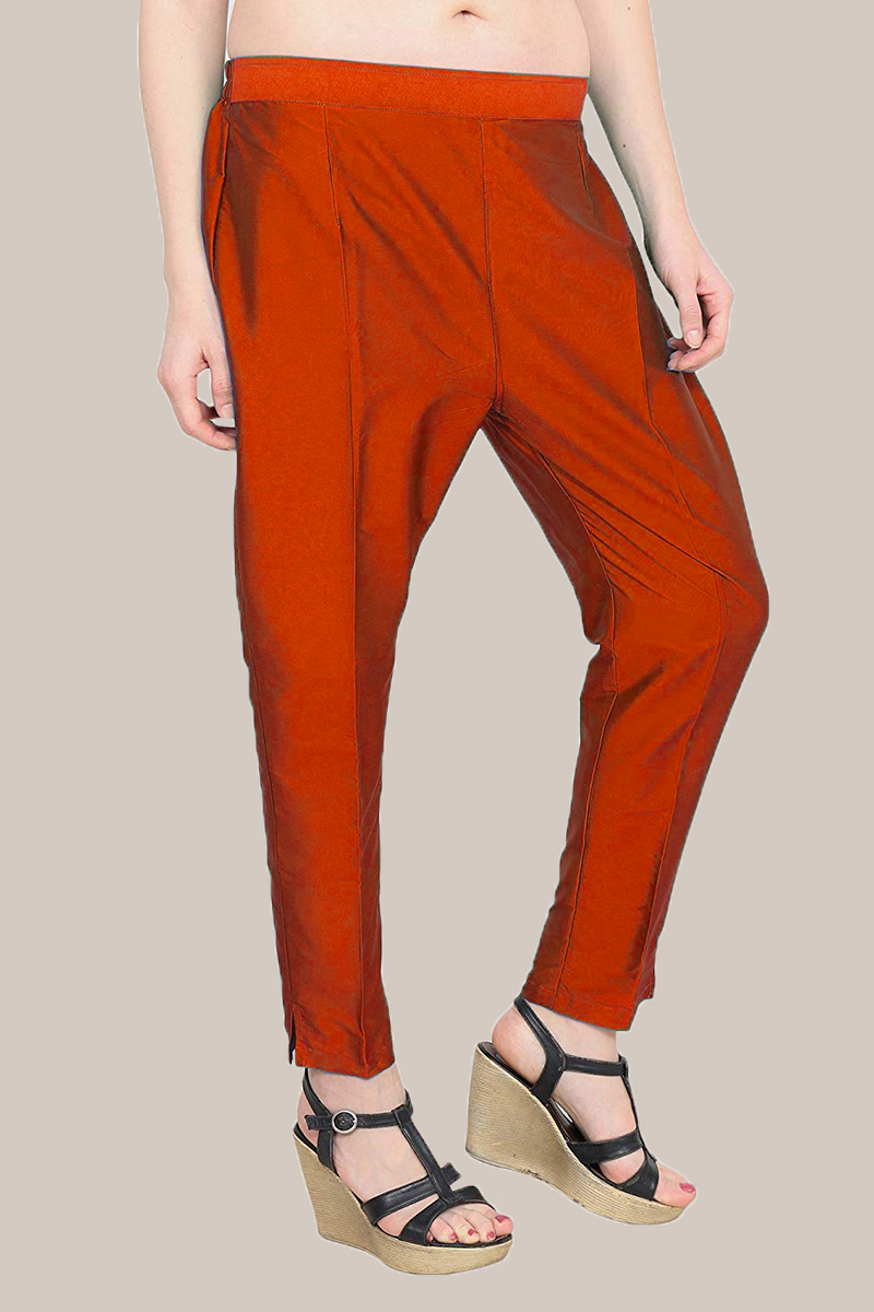 Red Taffeta Silk Ankle Length Pant-33977