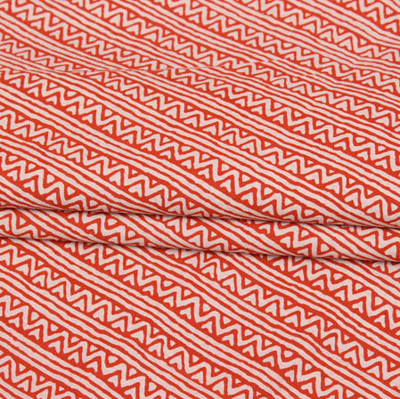 Red White Block Print Cotton Fabric-14945