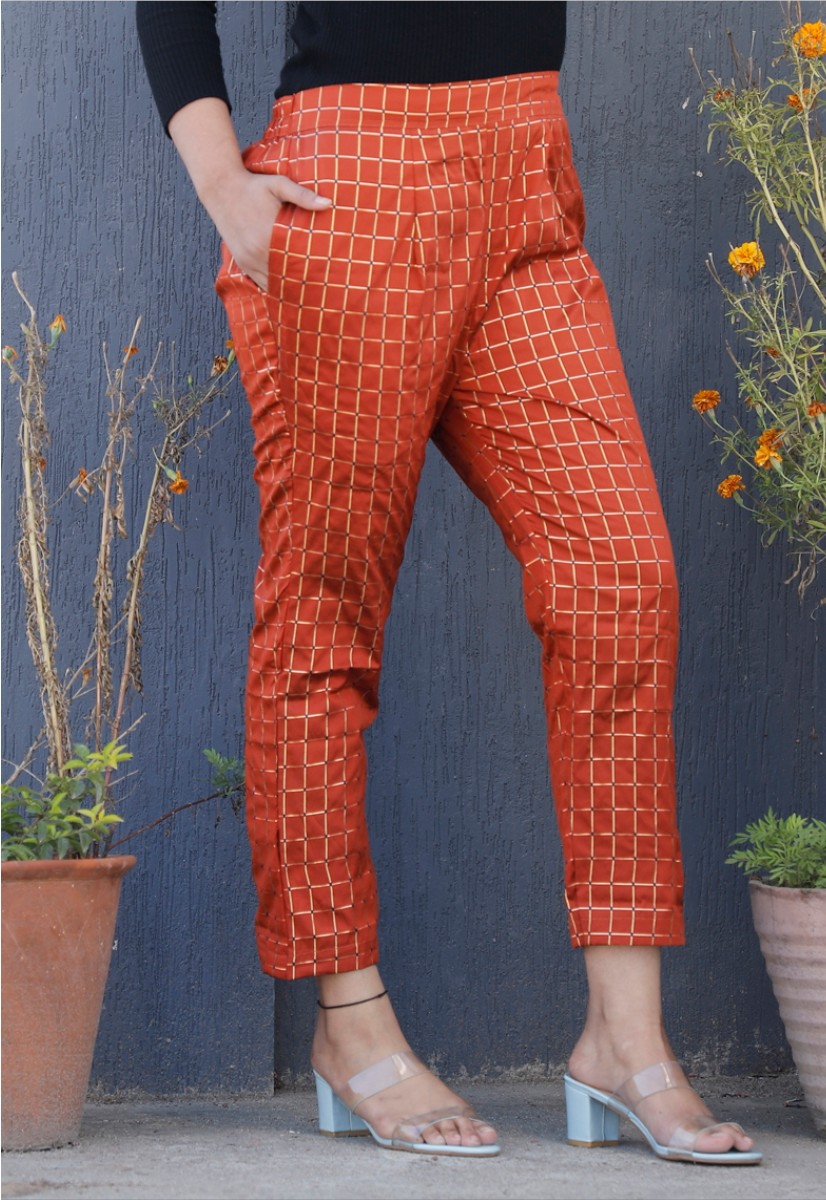 Red White Brocade Silk Ankle Women Check Pant-34319