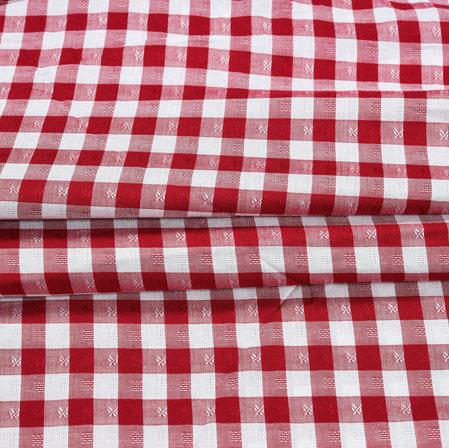 Red White Checks Cotton Print Fabric-28364