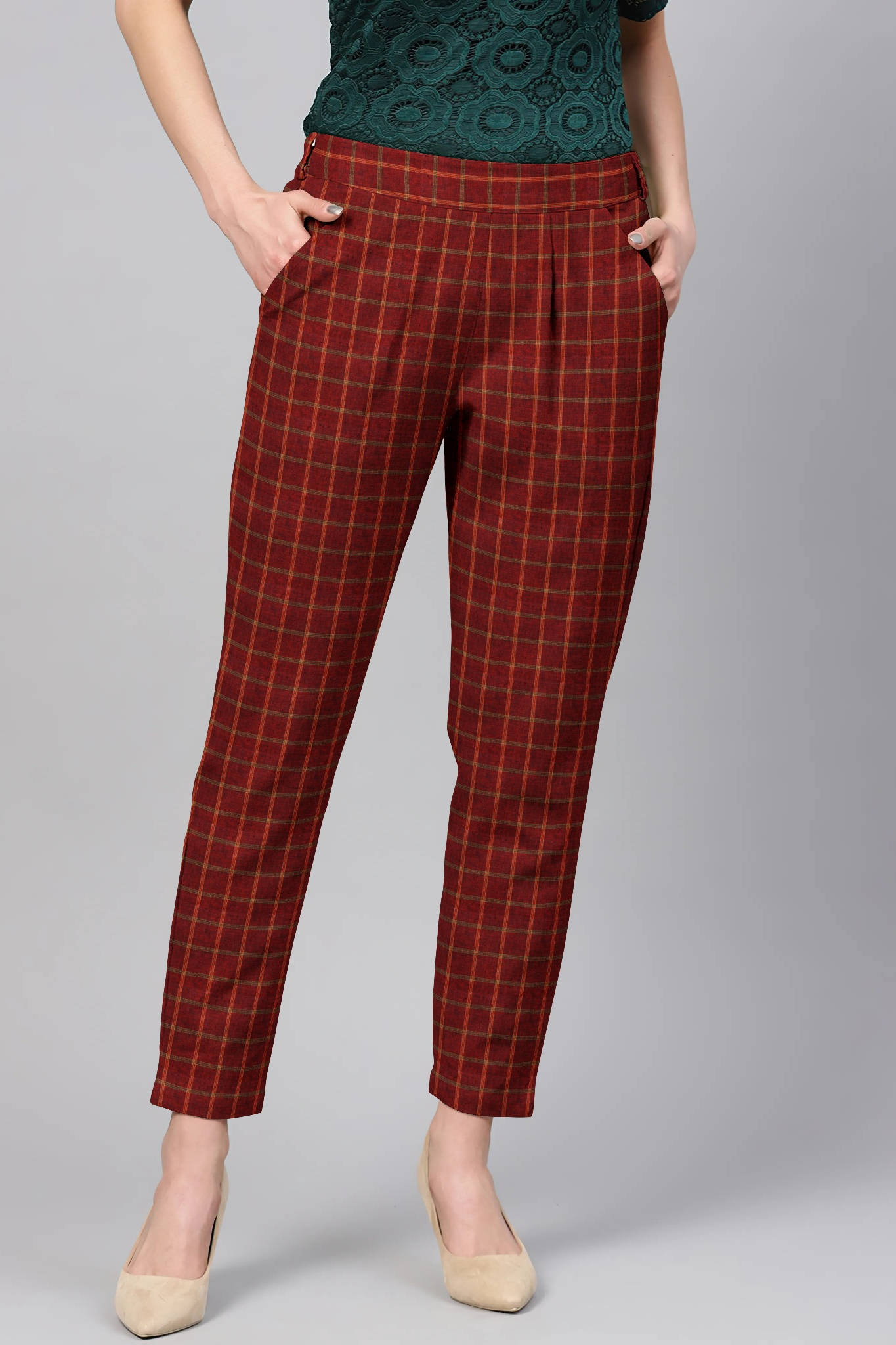 Red White Cotton Check Regular Fit Solid Trouser-36069