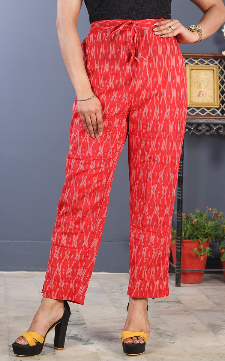 Red White Cotton Ikat Ankle Women Pant-34690