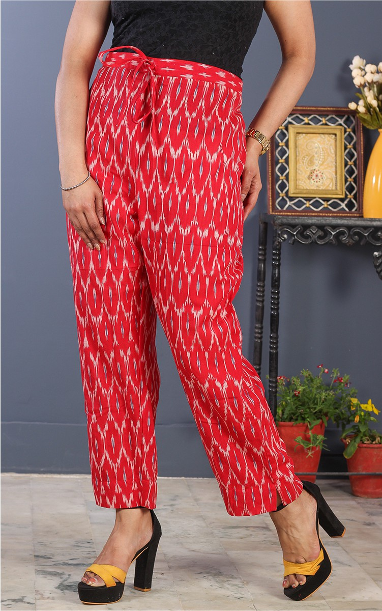 Red White Cotton Ikat Ankle Women Pant-34693