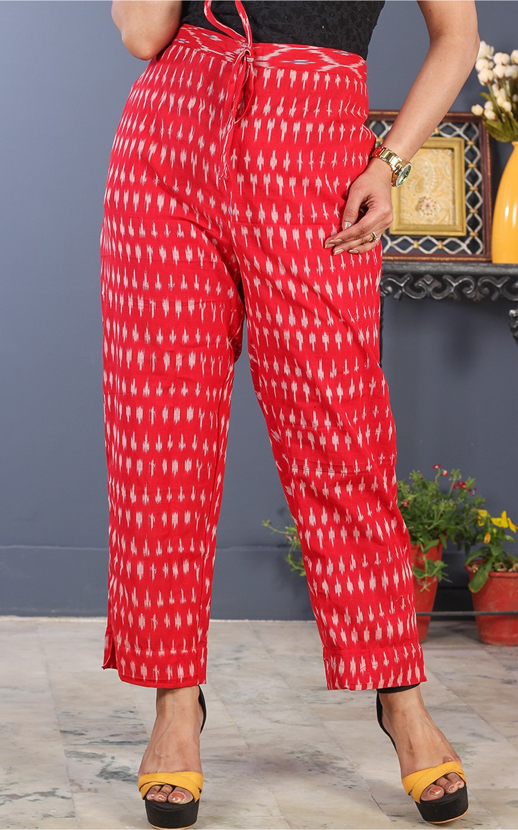 Red White Cotton Ikat Ankle Women Pant-34694