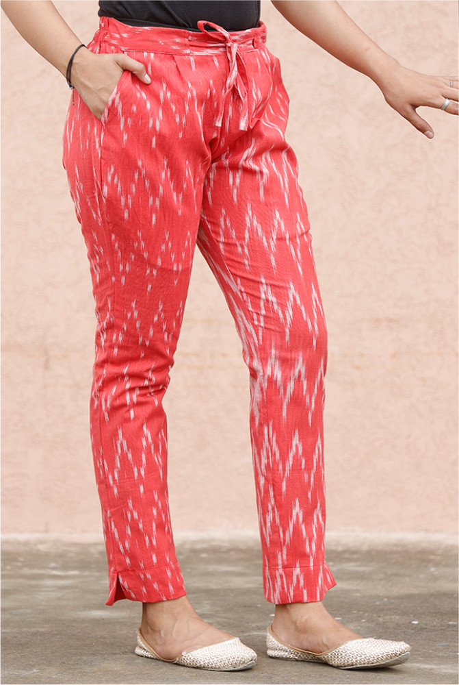 Red White Cotton Ikat zig zag Narrow Pant-33882