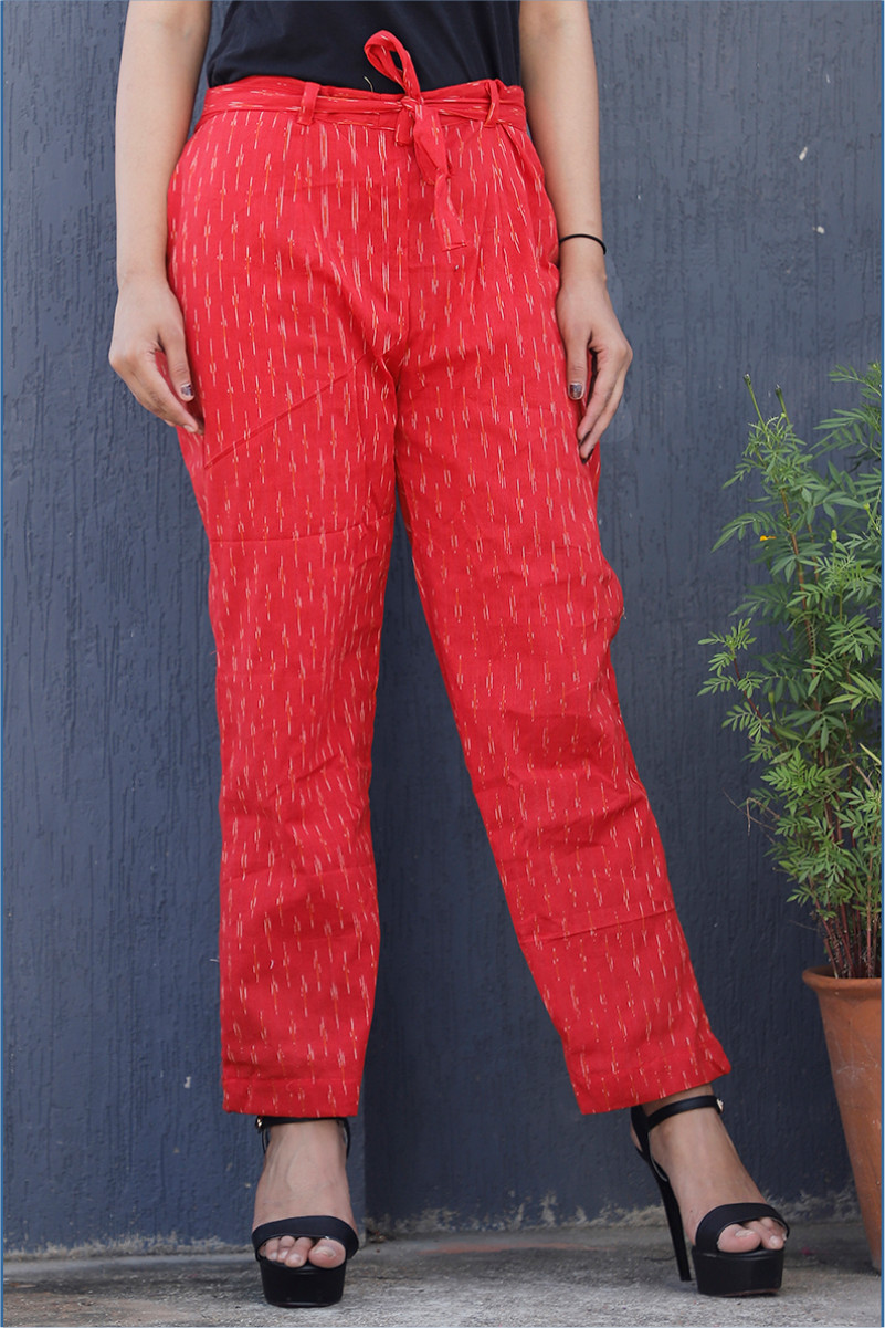 Red White Cotton Ikat zig zag Narrow Pant-34042