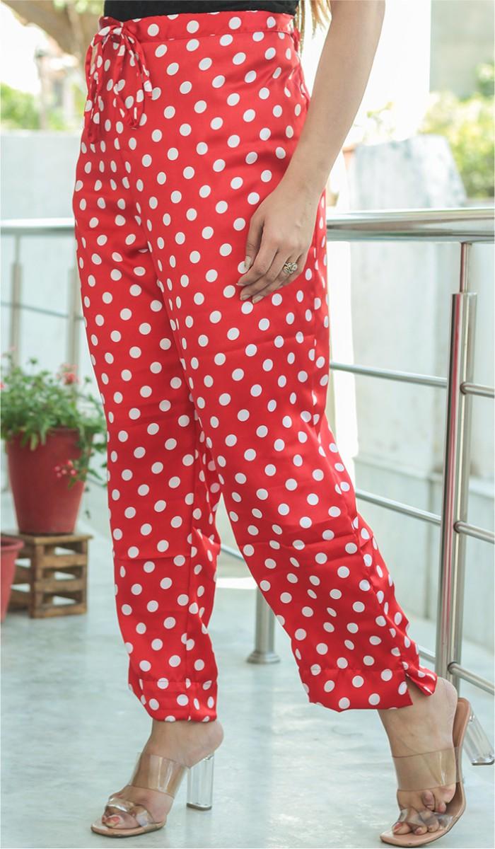 Red White Crepe Polka Women Pant-34704
