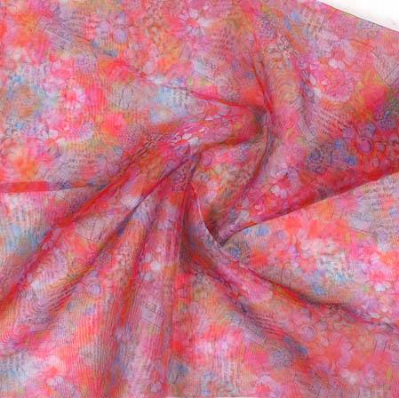 Red White Digital Floral Organza Silk Fabric-51750