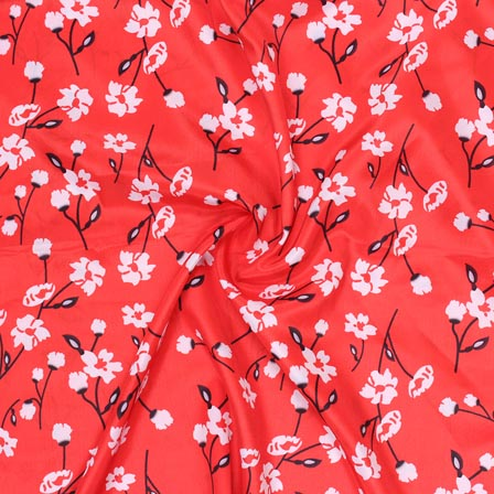Red White Flower Crepe Silk Fabric-18262