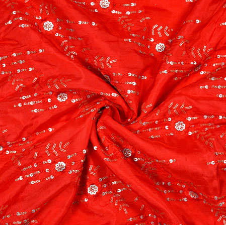 Red White Flower Sequin Work Upada Embroidery Silk Fabric-19176