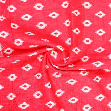 Red White Ikat Block Print Cotton Fabric-14845