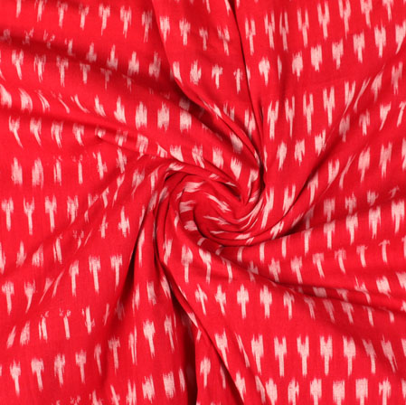Red White Ikat Cotton Fabric-11008