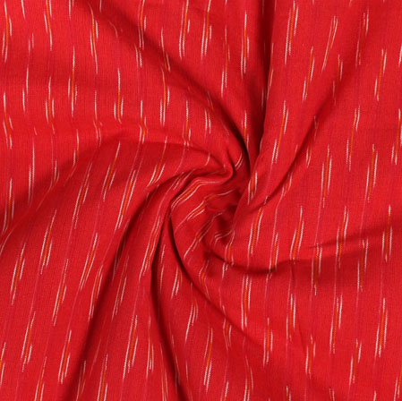 Red White Ikat Cotton Fabric-11010