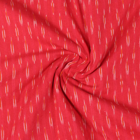 Red White Ikat Cotton Fabric-11040