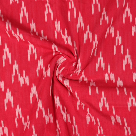 Red White Ikat Cotton Fabric-11047