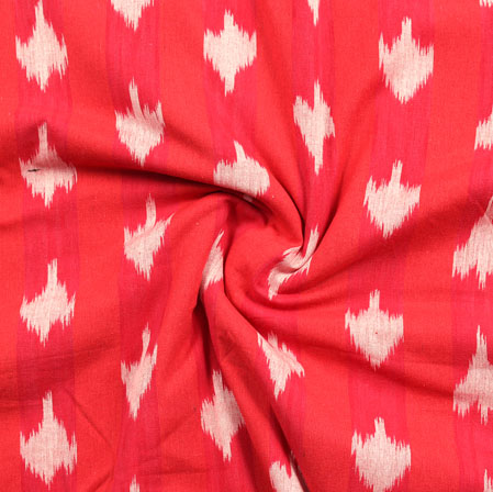 Red White Ikat Cotton Fabric-11072