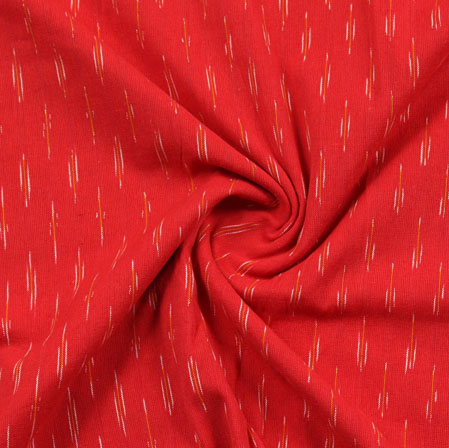 Red White Ikat Cotton Fabric-11080
