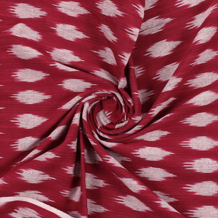 Red White Ikat Cotton Fabric-12200