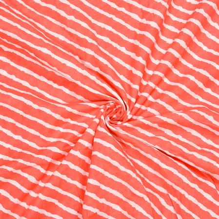 Red White Leheriya Cotton Fabric-28065