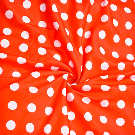 Red White Polka Crepe Silk Fabric-41124