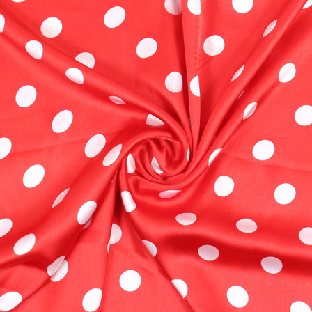 Red White Polka Japan Satin Fabric-18184