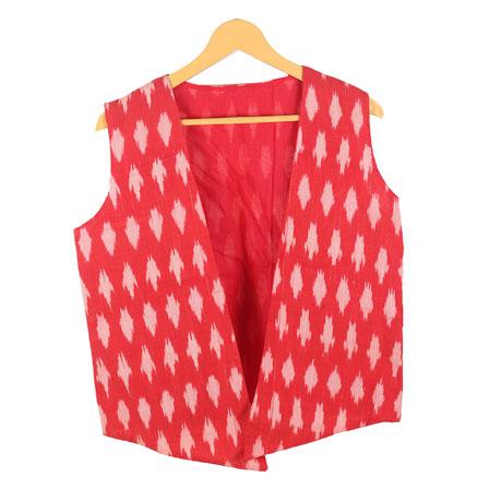 Red White Sleeveless Ikat Cotton koti jacket-12243