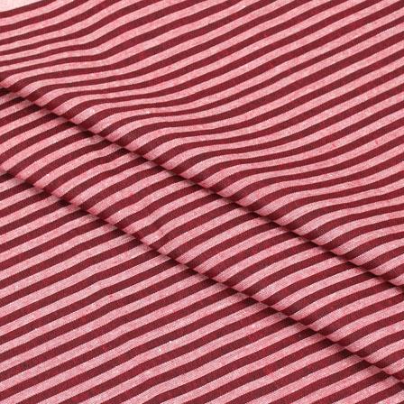 Cotton Shirt (2.25 Meter)-Red White Striped Handloom-140707