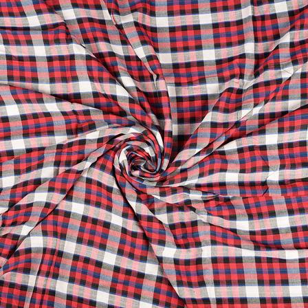 Red-White and Black Checks Rayon Shirt Fabric-40248