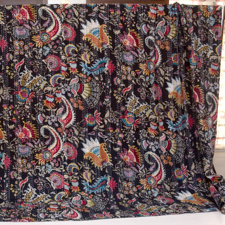 Red-White and Black Paisley Pattern Kantha Quilt-4356
