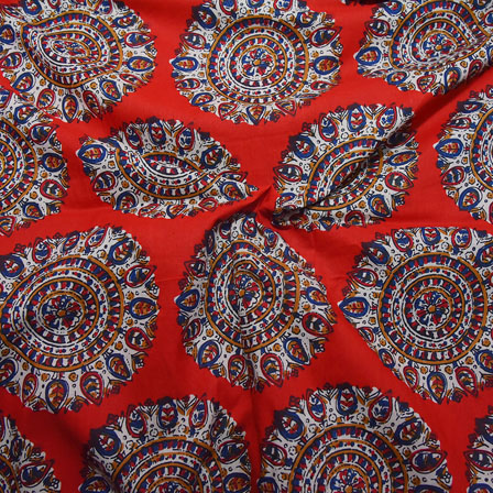 1 MTR-Red-White and Blue Circular Pattern Block Print Cotton Fabric-14195