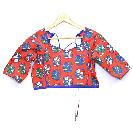 Red-White and Blue Elephant Kalamkari Print Cotton Blouse-30023