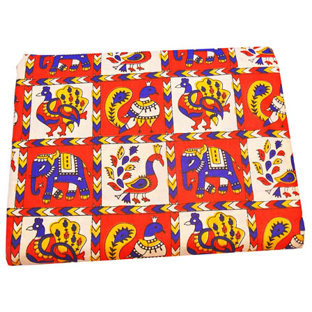Red-White and Blue Elephant Pattern Kalamkari Cotton Fabric-5802
