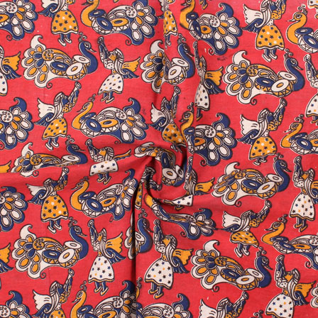 Red-White and Blue Peacock Kalamkari Cotton Fabric-10169