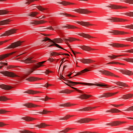 Red-White and Brown Cotton Ikat Fabric -12172