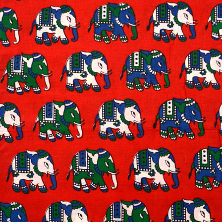 Red-White and Green Elephant Kalamkari Cotton Fabric-5551