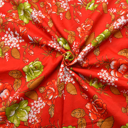 Red-White and Green Flower Pattern Crepe Fabric-18010