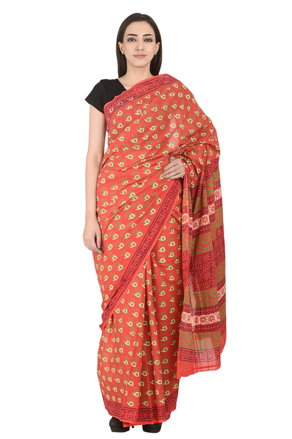 Red-White and Green Hand Pattern Cotton Block Print Saree-20124
