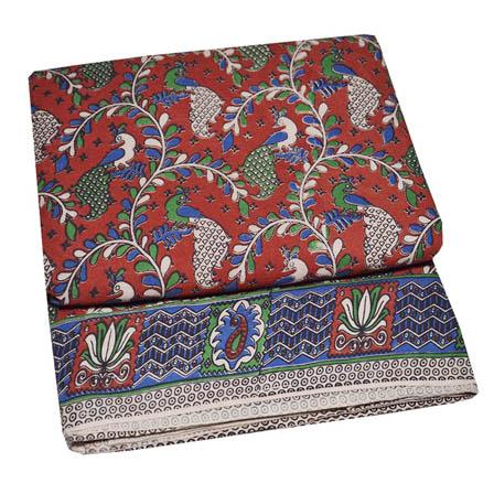 Red-White and Green Peacock Design Kalamkari Fabric-5764