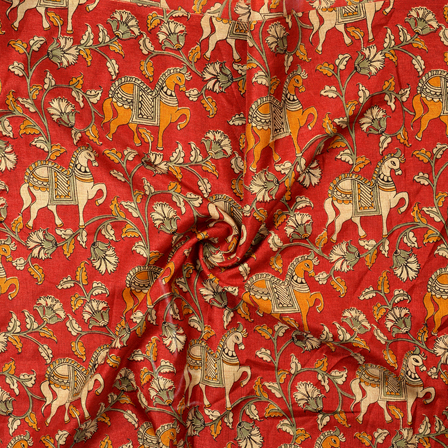 Red-White and Orange Horse Design Kalamkari Manipuri Silk Fabric-16269