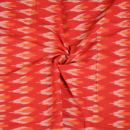 Red-White and Orange Ikat Cotton Fabric-12125