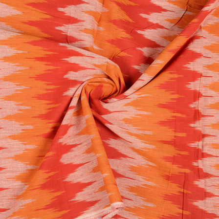 Red-White and Orange Ikat Cotton Fabric-12128