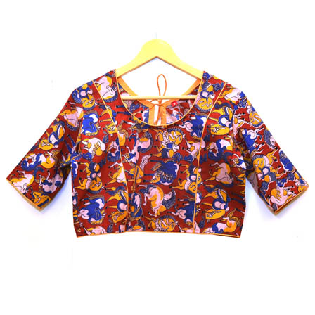 Red-White and Yellow Animals Kalamkari Print Cotton Blouse-30018
