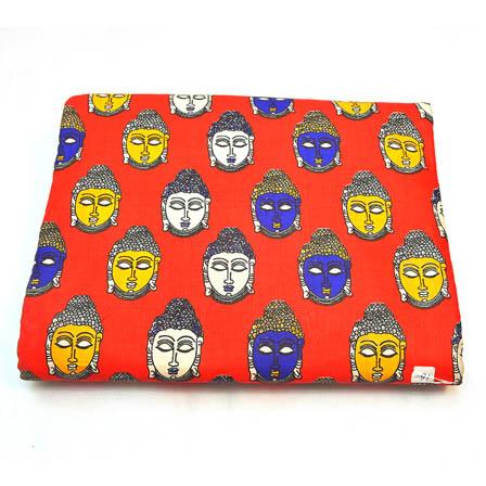 Red-White and Yellow Buddha Face Shape Kalamkari Cotton Fabric-5800