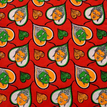 Red-Yelllow and Green Buddha Kalamkari Cotton Fabric-5590