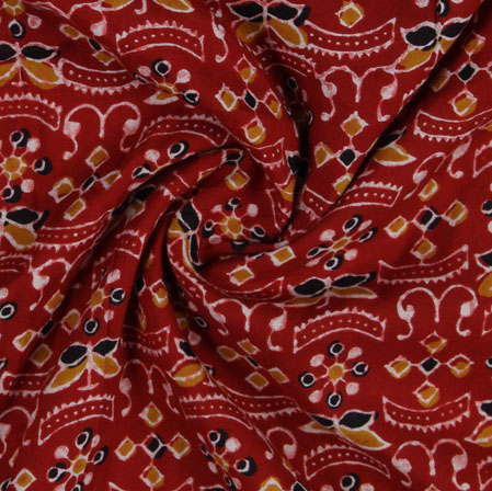 Red Yellow Block Print Cotton Fabric-16194