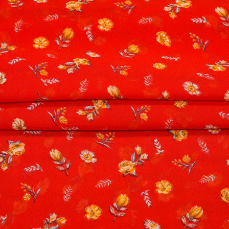 Red Yellow Digital Flower Print Georgette Fabric-41210